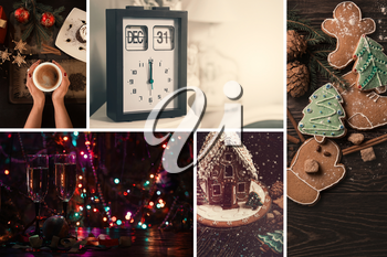 Set of different New Year photos