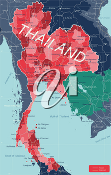 Thailand country detailed editable map with regions cities and towns, roads and railways, geographic sites. Vector EPS-10 file