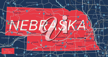 Nebraska state detailed editable map with cities and towns, geographic sites, roads, railways, interstates and U.S. highways. Vector EPS-10 file, trending color scheme