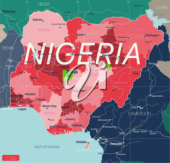 Nigeria country detailed editable map with regions cities and towns, roads and railways, geographic sites. Vector EPS-10 file