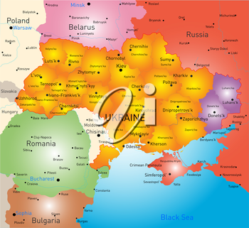 New vector color map of Ukraine without Crimea and selected Donesk and Lugansk regions