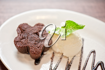 chocolate cake with ice cream at white plate