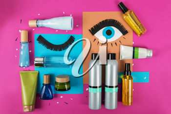 cosmetics set for make-up on bright background