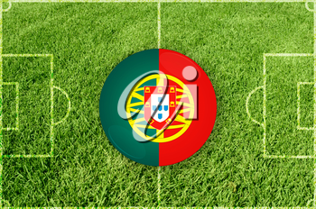 Portugal icons at football field background