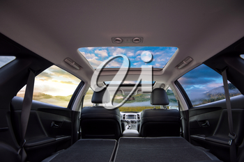 Travel in car with panoramic roof