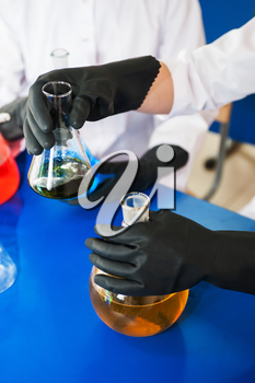 Experiments in a chemistry lab, closeup photo