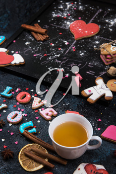 Math, gingerbreads , formula of love. Gingerbreads for Valentines Day or wedding theme.