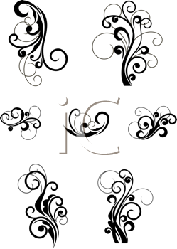 Royalty Free Clipart Image of Victorian Elements