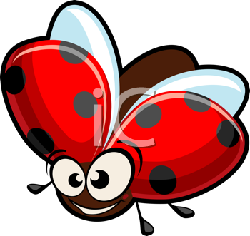 Royalty Free Clipart Image of a Cartoon Ladybug