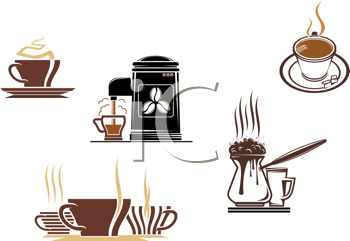 Royalty Free Clipart Image of Coffee and Tea Symbols