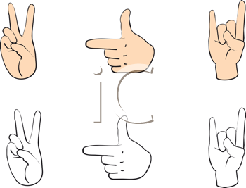 Royalty Free Clipart Image of Hand Gestures
