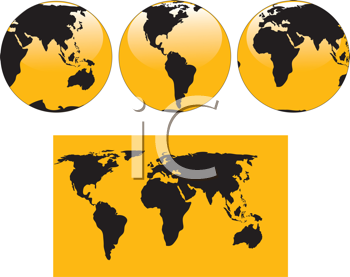 Royalty Free Clipart Image of a Map and Globes