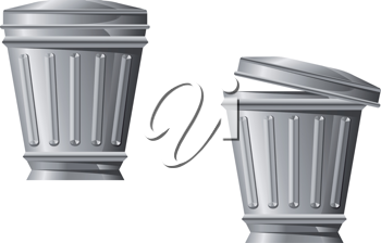 Recycle bin icon in two variations isolated on white background