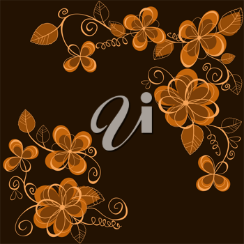 Brown flowers pattern for design as a background