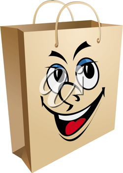 Shopping bag with smiling face for for retail and sale design