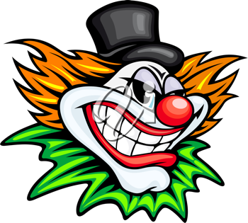 Angry circus clown or joker in cartoon style