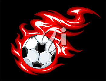 Football and soccer ball in fire flames for sports design