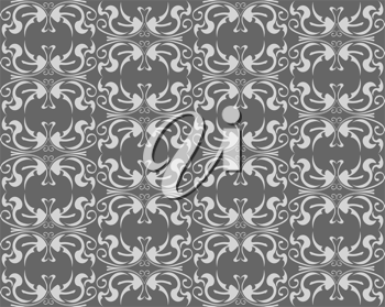 Abstract gray floral seamless background for wallpaper design