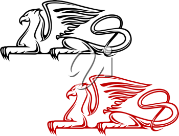 Vintage griffin for heraldic or tattoo design