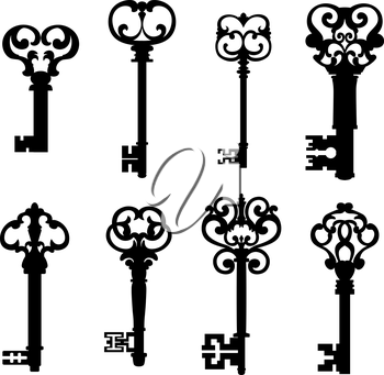 Old keys set with decorative elements in retro style