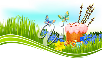 Easter cake and egg greeting banner. Painted Easter egg and sweet bread on green grass meadow with flowers of narcissus and forget-me-not, willow twigs and butterflies. Easter poster with copy space