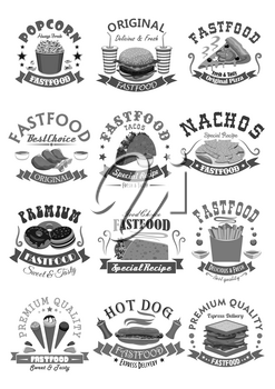 Fast food restaurant icons for menu of burgers cheeseburger and hamburger, hot dog sandwich, pizza and french fries. Popcorn, chicken legs or wings, ice cream and donut. Vector fastfood snacks and des