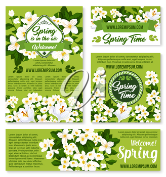 Happy Spring vector greeting poster and banners set with springtime holiday quotes. Green nature design of blooming crocuses and orchid bouquets or jasmine blossoms and bunches on grass field