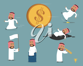 Failed arab businessman character set. Frustrated businessman sitting on oil tank, running away, bankrupt with white flag, fallen down into oil puddle, slipped on banana. Failure, bankruptcy design