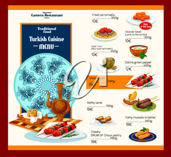 Turkish cuisine menu template for restaurant. Vector ornament cover design of Turkey traditional Mediterranean meals of meat dishes, vegetable salads and soups or authentic appetizer snacks and desser