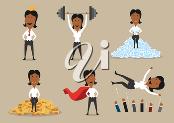 Success and victory achievements vector concept. Super mighty leader woman or winner business character in golden crown, holding barbell, sitting on gold and diamonds and cheered on hands