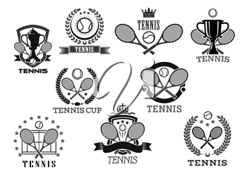 Tennis club awards vector badges set. Isolated icons of of tennis ball and rackets, victory laurel wreath ribbon and winner cup goblet with crown of stars for sport championship or tournament prize sy
