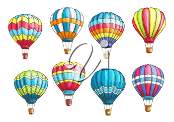 Hot air balloons vector sketch. Isolated icons set of inflated hopper balloons or cloudhopper aircrafts with zig zag, stripes or square patch pattern design for air trip or summer vacation travel tour