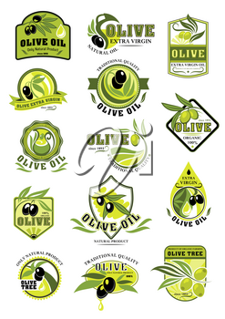 Olive oil icons and product labels with black and green olives for extra virgin oil. Vector design of olive ripe fruits and drops with ribbons for organic cooking oils, farm market or store
