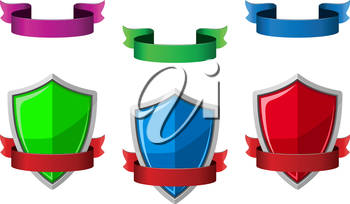 Security icons with shields and ribbons for internet safety design