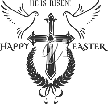 Happy Easter cross crucifix and flying doves icon for religious Easter holiday. Vector isolated symbol of christian cross in laurel wreath wit ribbon bow for Easter greeting card decoration design