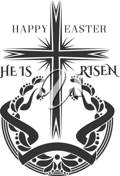 Happy Easter and He is Risen icon of cross crucifix laurel wreath for Christian religious Easter holiday design. Vector isolated symbol of Christianity crucifixion cross with ornate ribbon for Easter