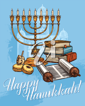 Happy Hanukkah greeting card, Jewish religious traditional holiday. Vector sketch design of Menorah candles, holy Torah book and scroll with dreidel spinning top and synagogue on blue background