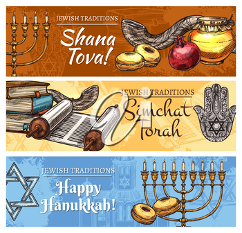 Happy Hanukkah, Shana Tova or Rosh Hashanah New Year and Simchat Torah Jewish religious holidays sketch design. Vector cards of Jewish celebration symbols, Menorah candle, Torah scroll and shofar horn