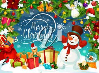 Snowman in hat and mittens on Merry Christmas poster. Gift boxes or presents on snow, cane candy and angel. Fir with cones, orange and Santa hat, garland and jingle bells, bear and holly plant vector