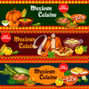 Mexican cuisine restaurant banner with dinner dish and fresh ingredient. Meat taco on corn tortilla with avocado guacamole, meatball soup, fried fish and seafood ceviche, onion and pumpkin cream soup