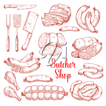 Butcher shop meat products vector isolated sketch icons. Butchery gourmet delicatessen and gastronomy brats and frankfurter sausages. ham or hamon and bacon brisket, wiener and frankfurter salami or cervelat