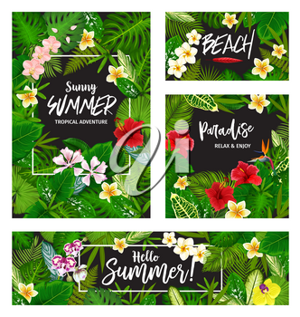 Hello Summer banner of tropical vacation and beach party invitation. Exotic palm leaf and hawaiian flower card frame with green foliage of monstera, fern and banana tree, hibiscus, orchid and plumeria