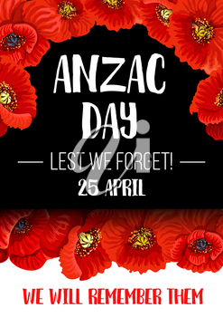 Anzac Day poppy flower wreath banner for commemorate of World War soldier and veteran. Australian and New Zealand Army Corps Remembrance Day floral poster with red poppy and Lest We Forget text