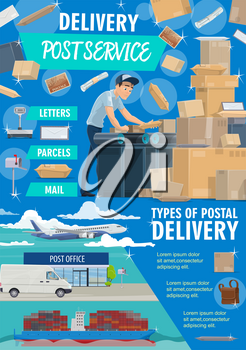 Post mail service postage office poster. Post shipping transport and postman in uniform at work. Vector mailman with parcels sorting packages and letter envelopes or mailboxes, air and land delivery