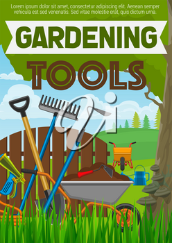 Gardening tools agriculture or horticulture equipment poster. Shovel or spade, rake and water hose, watering can and wheelbarrow, forks and hoe on grass,fence under tree, vector farming instruments