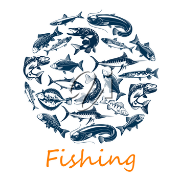 Fishing sport, of sea and ocean fish for fisherman catch or sport adventure theme. Vector scad or horse mackerel, scomber or anchovy and tuna, sardine and sea bass, dorada bream fish