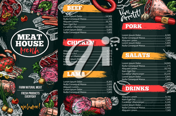 Meat house restaurant menu price template for meat dishes. Vector sketch design of beef steak and chicken grill in salad, lamb filet and pork bacon or tenderloin and smoke hamon sausage or brisket