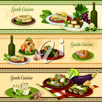 Greek cuisine restaurant menu banner set. Tomato cheese vegetable salad with olives, meat and spinach pie, seafood rice, pita bread with olive oil and spices, cabbage and grape dolma, eggplant roll