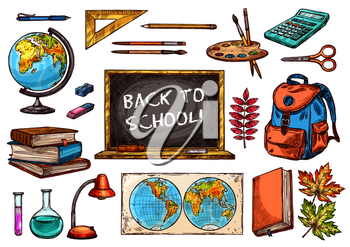 School and education supplies sketches. Pencil, book and ruler, pen, calculator and scissors, school bag, blackboard, paint and brush, globe, flask and lamp, world map for student tool design