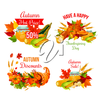 Autumn sale symbol set of Thanksgiving Day holiday. Fall season maple leaf, cornucopia with harvest pumpkin, corn vegetable and apple fruit, food, pie, cranberry and wheat for discount offer design
